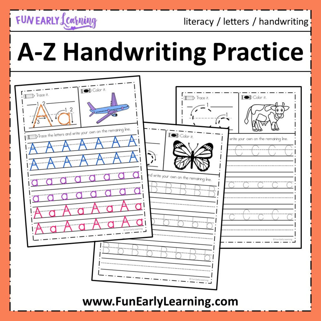 A Z Handwriting Practice No Prep Worksheets For Learning Letters For Letter Tracing Resources