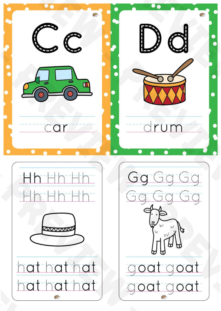 Aa To Zz Alphabet Flashcards With Color Background And Throughout Alphabet Tracing Flashcards