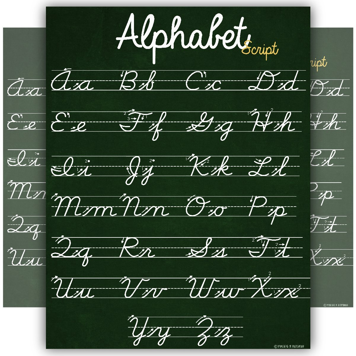Abc Cursive Script Alphabet Poster Size Small Chart Laminated Teaching  Classroom Decoration Young N Refined - Walmart