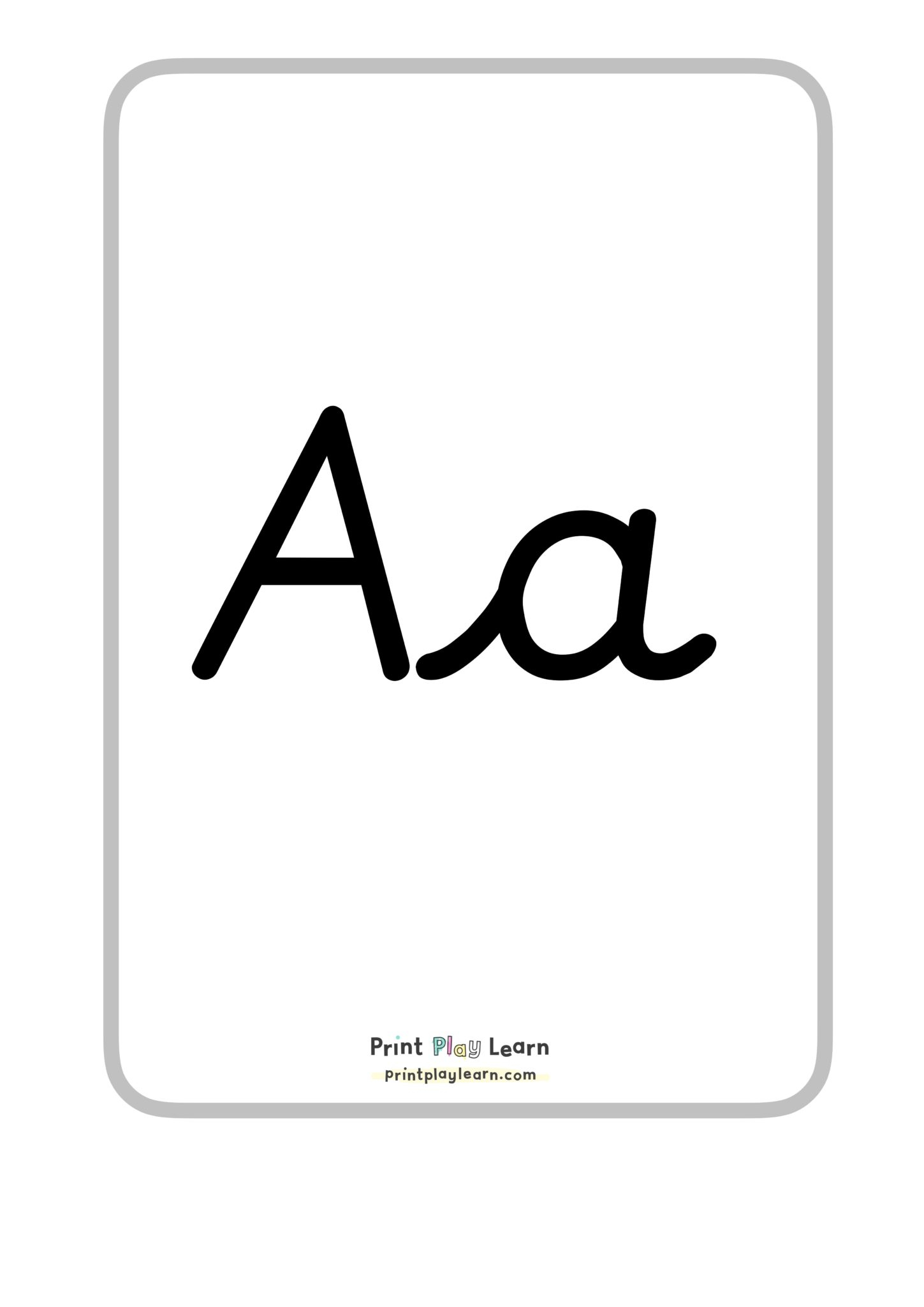 Alphabet A4 Posters Upper And Lower Case Cursive Font