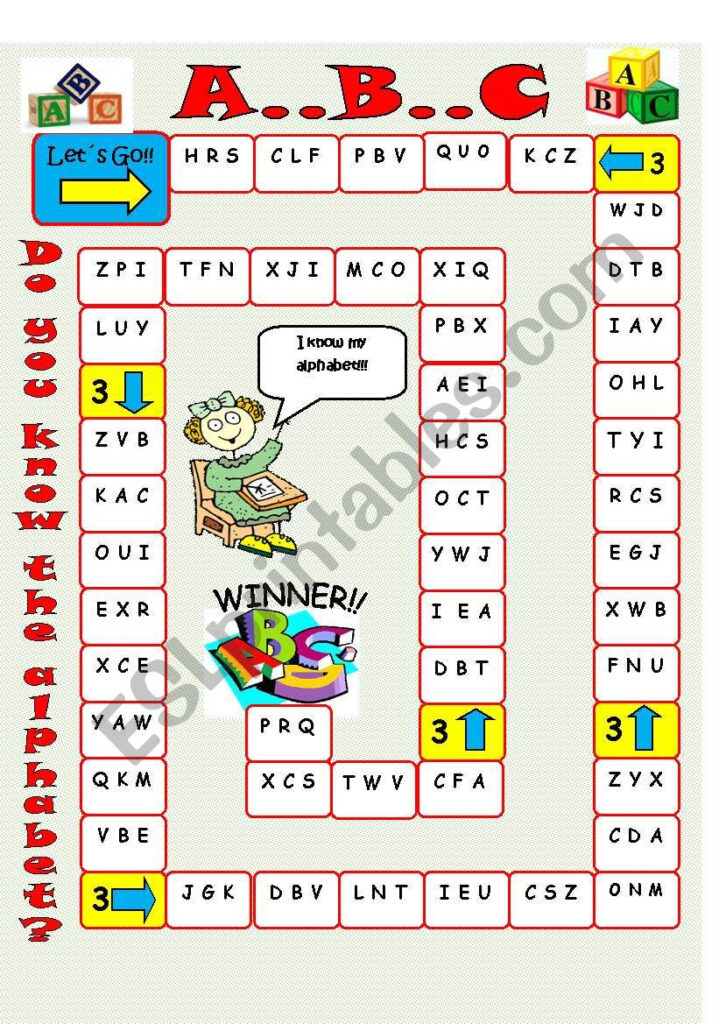 Alphabet Board Game   Esl Worksheetimelda Pertaining To Alphabet Game Worksheets