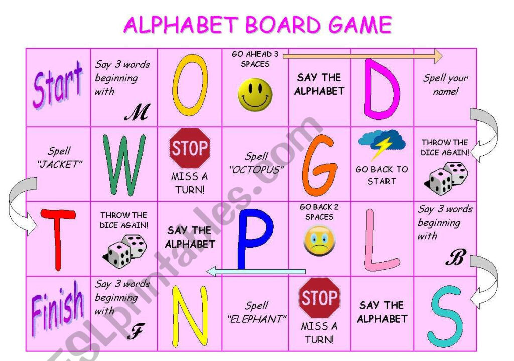 Alphabet Board Game   Esl Worksheetstefania.r Throughout Alphabet Game Worksheets