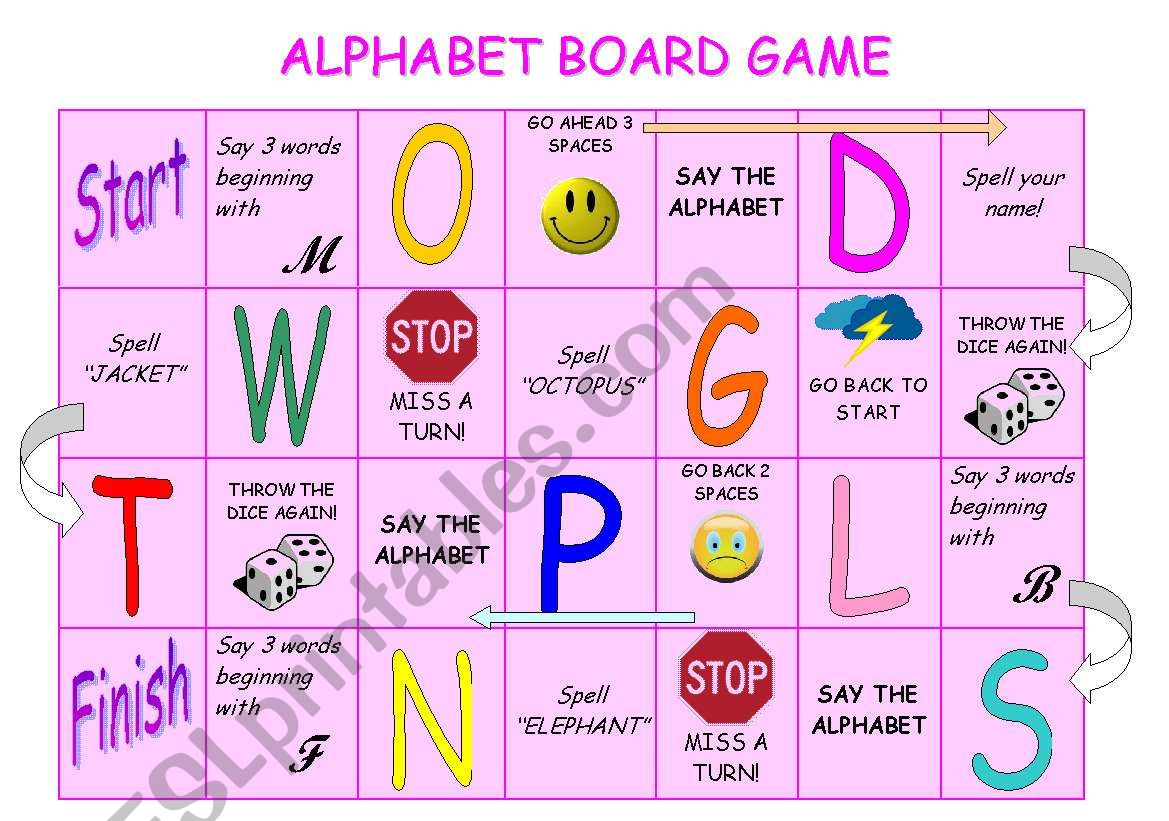 Alphabet Board Game - Esl Worksheetstefania.r throughout Alphabet Game Worksheets