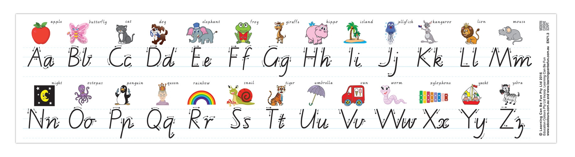 Alphabet Desk Strip Vict Modern Cursive | Learning Can Be Fun