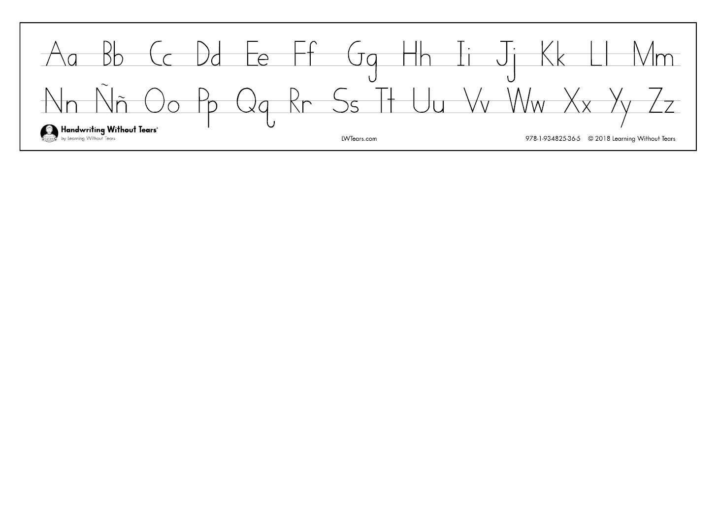 Alphabet Desk Strips: Print & Cursive | Lwtears