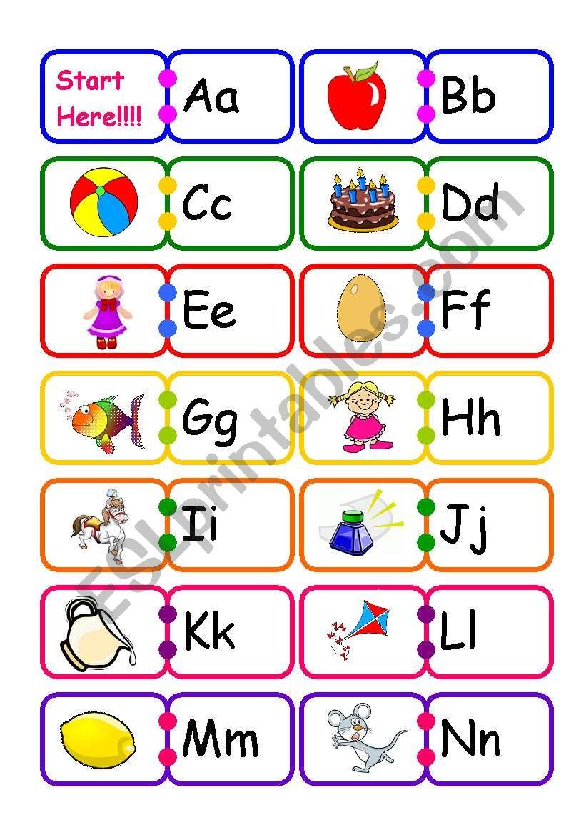 Alphabet Domino!!! - Esl Worksheetvickyvar intended for Alphabet Domino Worksheets