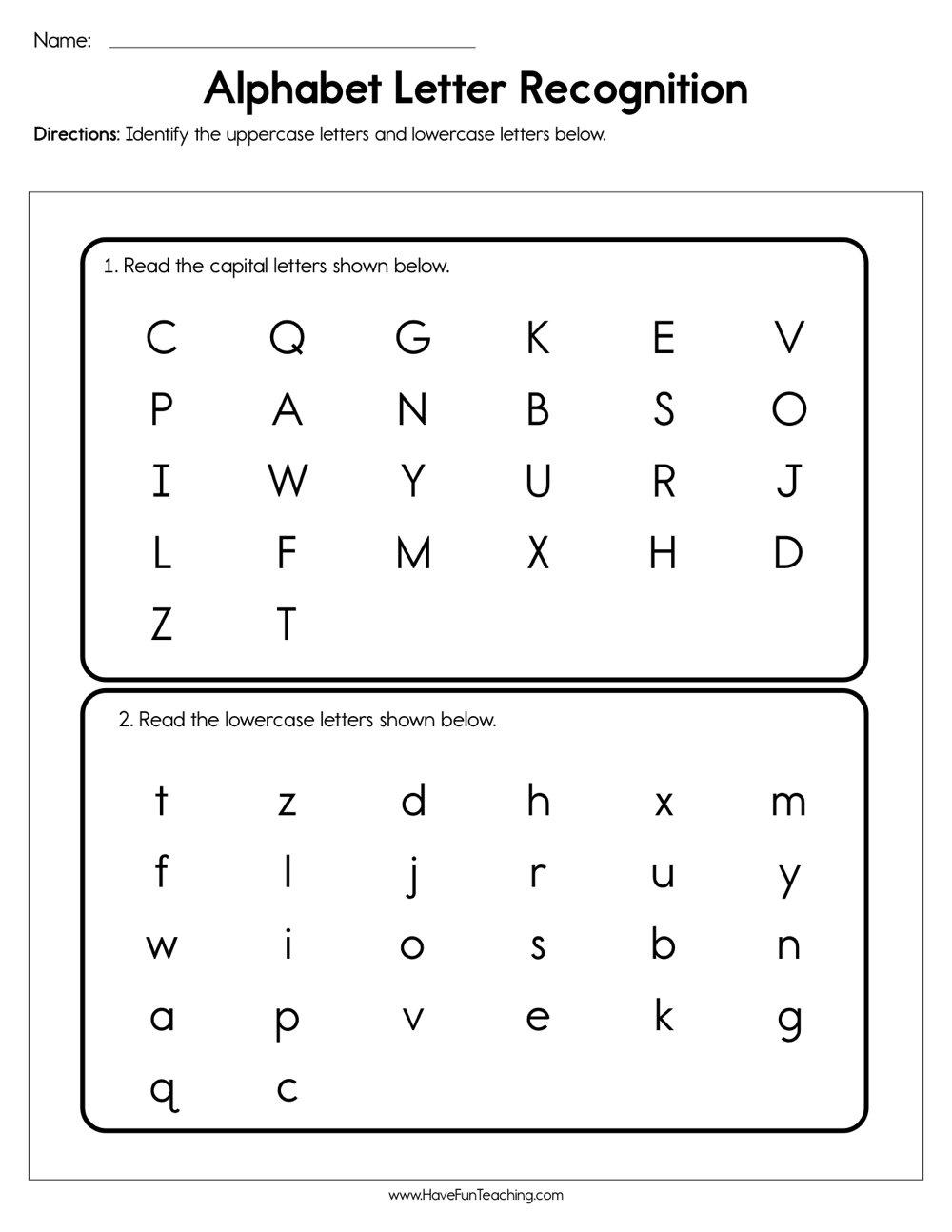 Alphabet Letter Recognition Assessment Have Fun Teaching regarding Alphabet Review Worksheets For First Grade