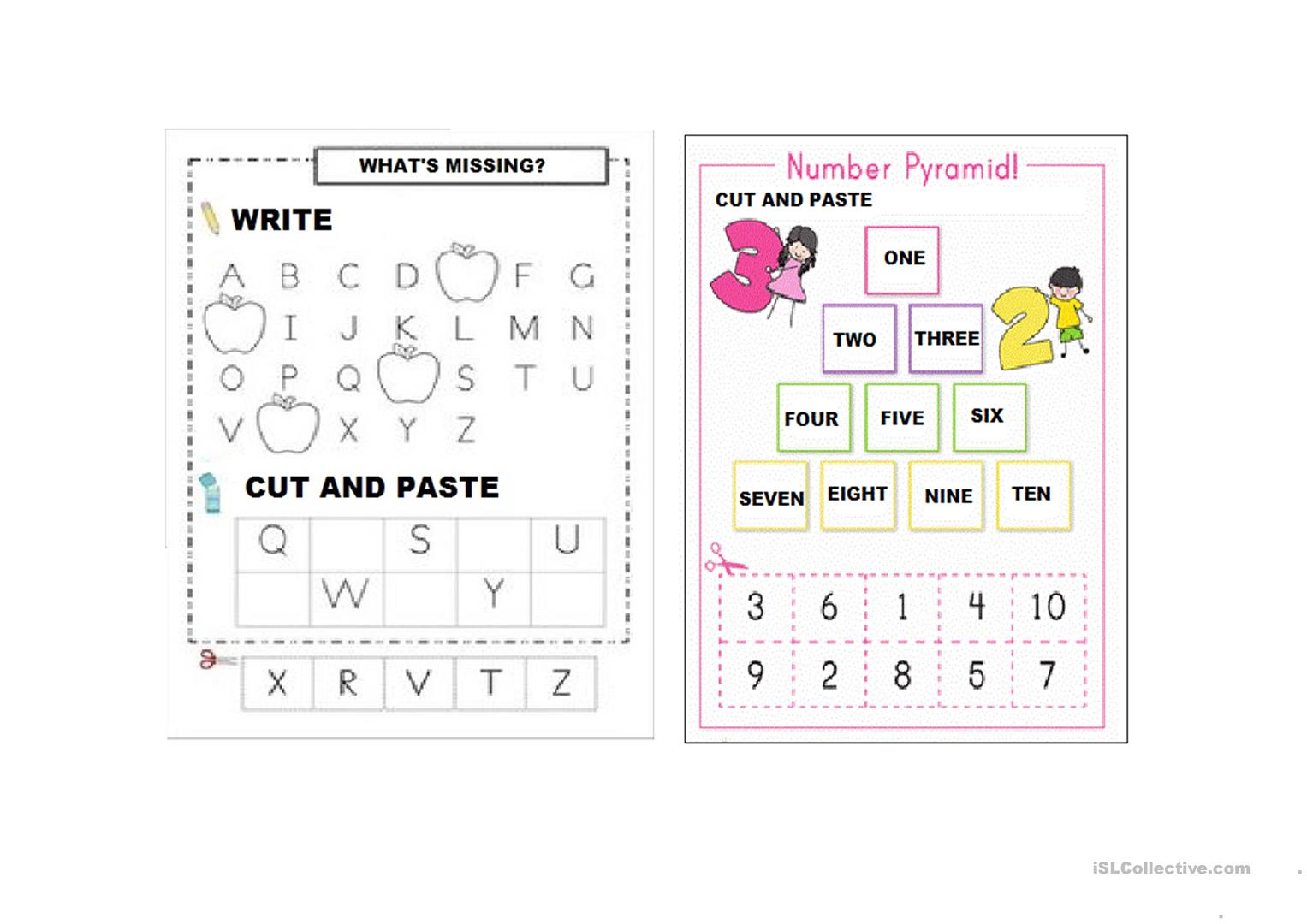 Alphabet Letters And Numbers (1-10) - English Esl Worksheets in Letter 10 Worksheets
