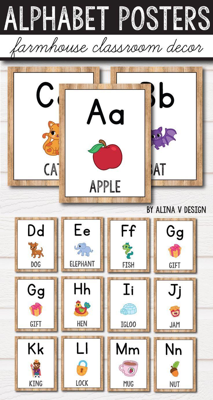Alphabet Posters - Cursive - Farmhouse Classroom Decor Check