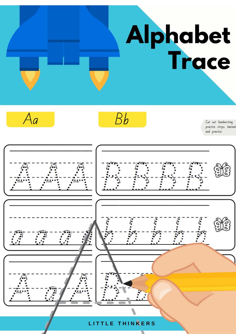 Alphabet Practice Strips - Queensland Beginners Font