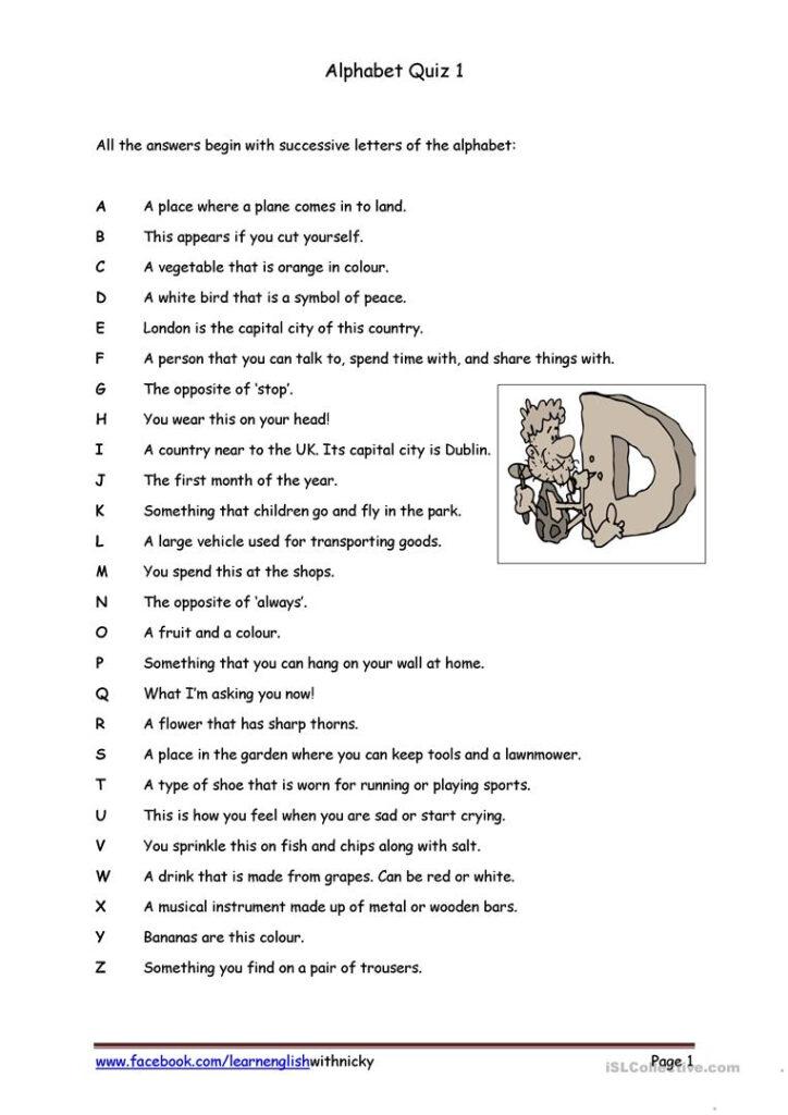 Alphabet Quiz 1   English Esl Worksheets For Distance Throughout Alphabet Exam Worksheets