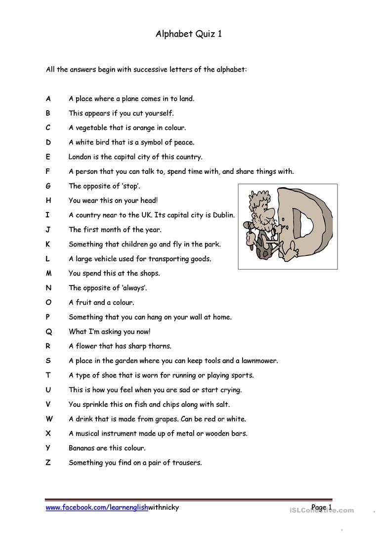 Alphabet Quiz 1 - English Esl Worksheets For Distance throughout Alphabet Exam Worksheets