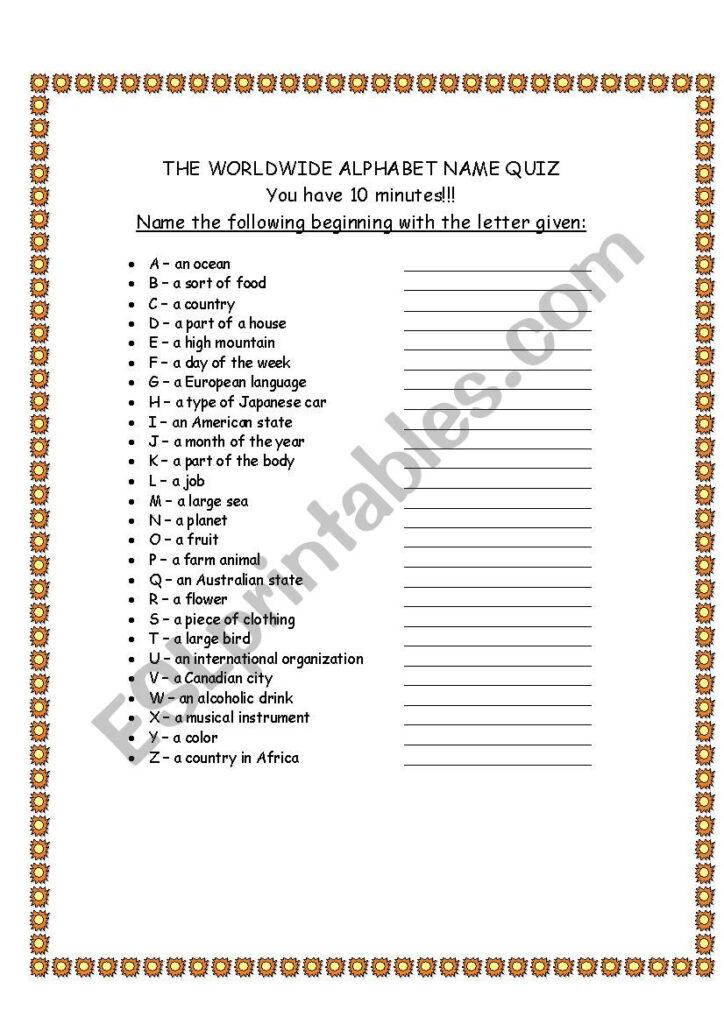 Alphabet Quiz   Esl Worksheetdavid.alikaee Within Alphabet Exam Worksheets