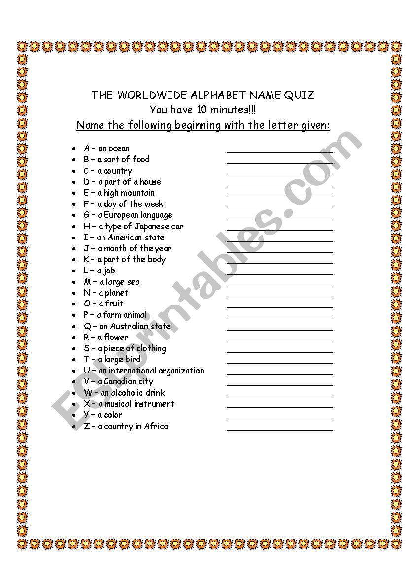 Alphabet Quiz - Esl Worksheetdavid.alikaee within Alphabet Exam Worksheets