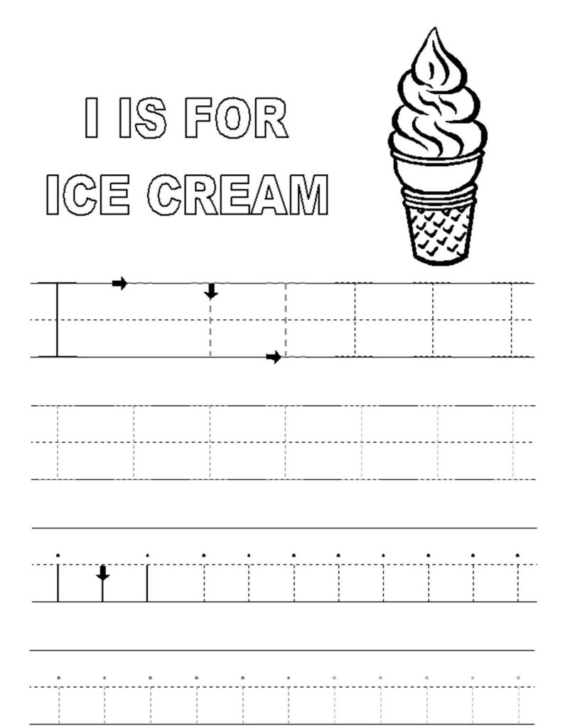 Alphabet Tracer Pages I Ice Cream   Http://www.kidscp Inside Letter H Worksheets Soft School