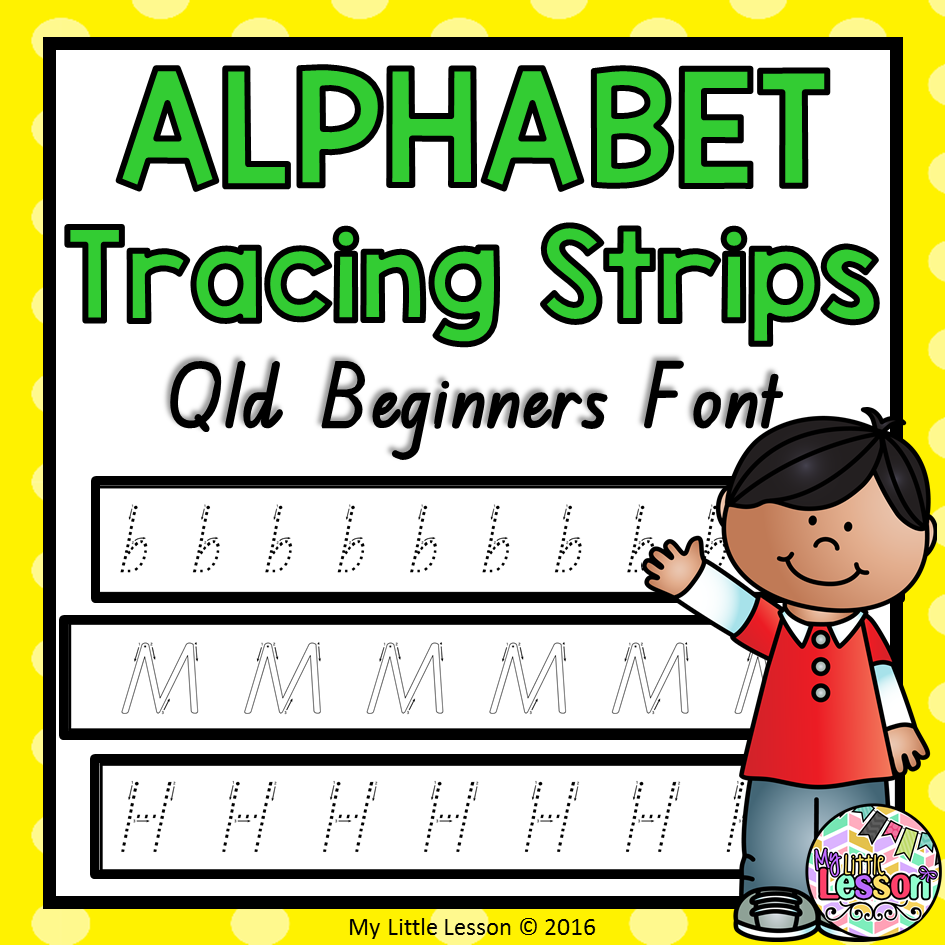 Alphabet Tracing Strips Qld Beginners Font with Name Tracing Qld Font