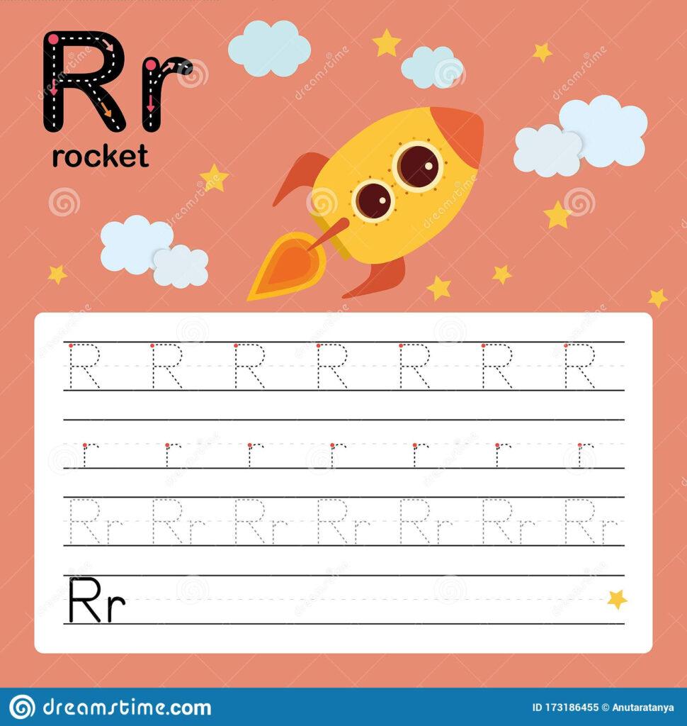 Alphabet Tracing Worksheet For Preschool And Kindergarten To Regarding Letter R Tracing Preschool