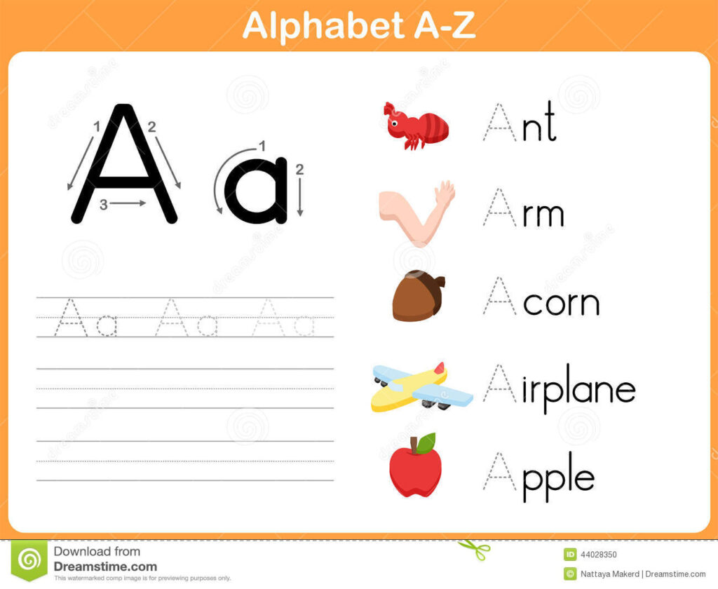 Alphabet Tracing Worksheet Stock Vector. Illustration Of Throughout Alphabet Worksheets A Z With Pictures