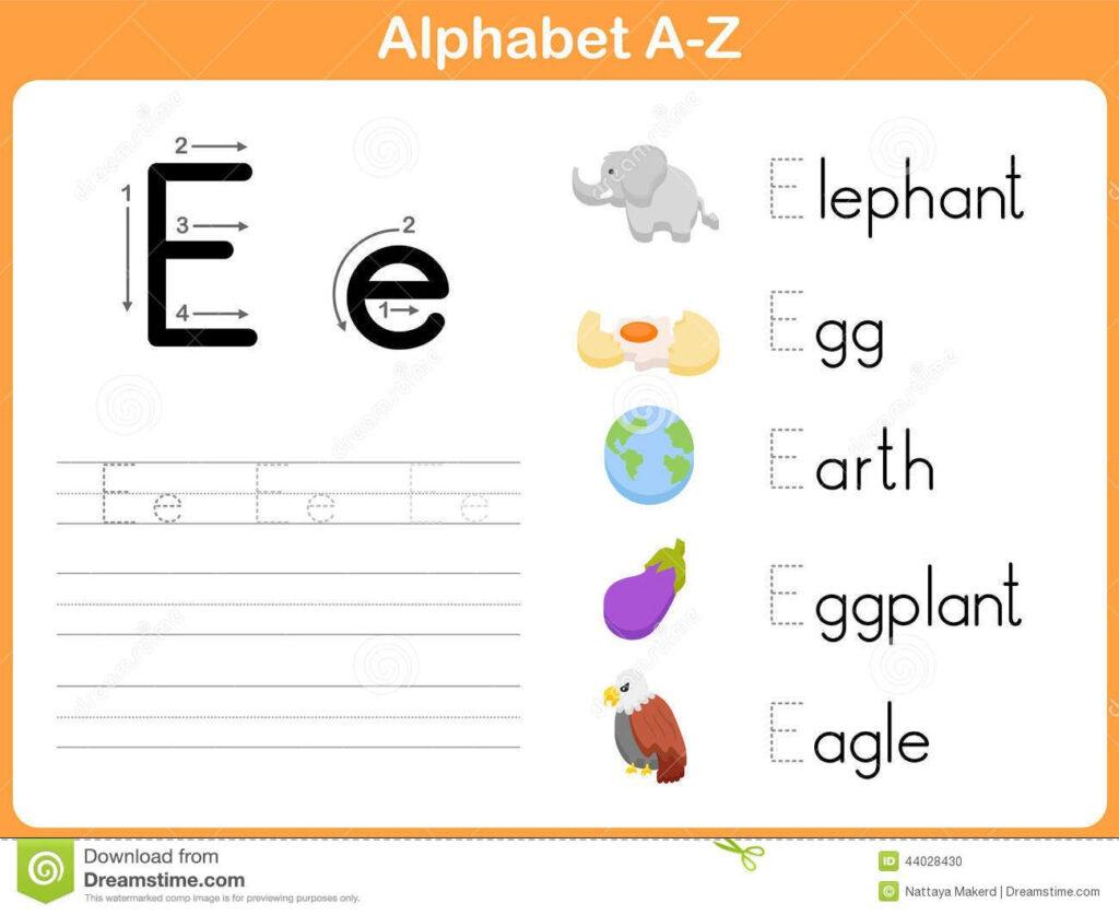 Alphabet Tracing Worksheet Stock Vector   Image: 44028430
