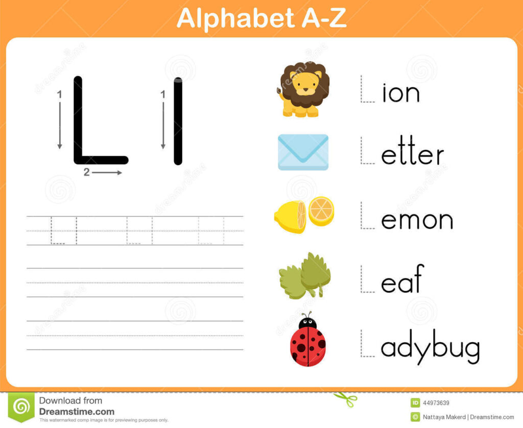 Alphabet Tracing Worksheet: Writing A Z Stock Vector