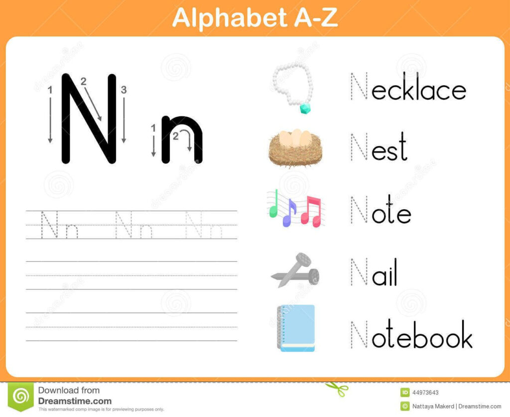Alphabet Tracing Worksheet: Writing A Z Stock Vector   Image