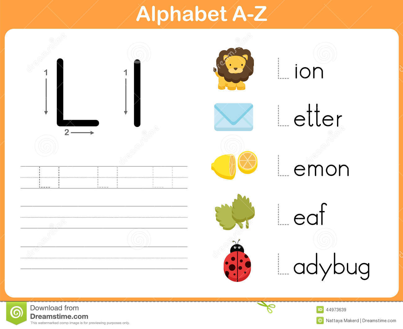 Alphabet Tracing Worksheet: Writing A-Z Stock Vector