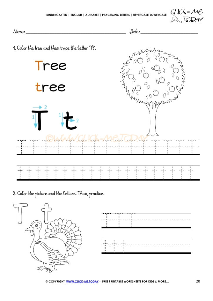 Alphabet Tracing Worksheets   How To Write Letter T For Letter T Tracing Sheet