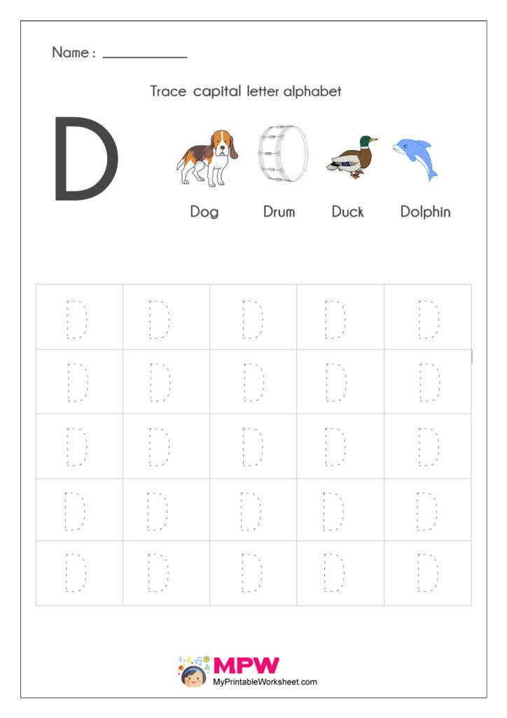 Alphabet Tracing Worksheets, Printable English Capital