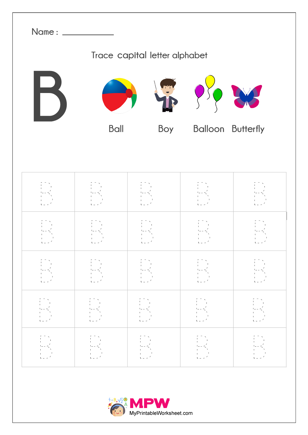 Alphabet Tracing Worksheets, Printable English Capital