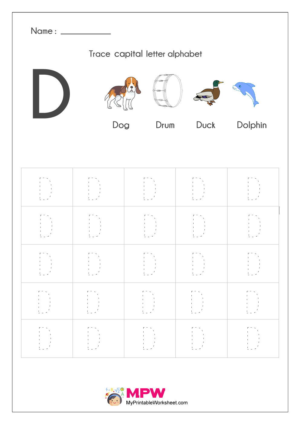 Alphabet Tracing Worksheets, Printable English Capital in D Letter Tracing