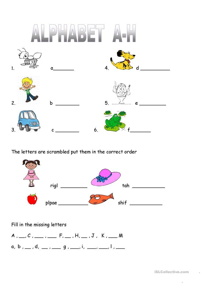 Alphabet Worksheet Practice A-H - English Esl Worksheets For in Alphabet Worksheets Islcollective