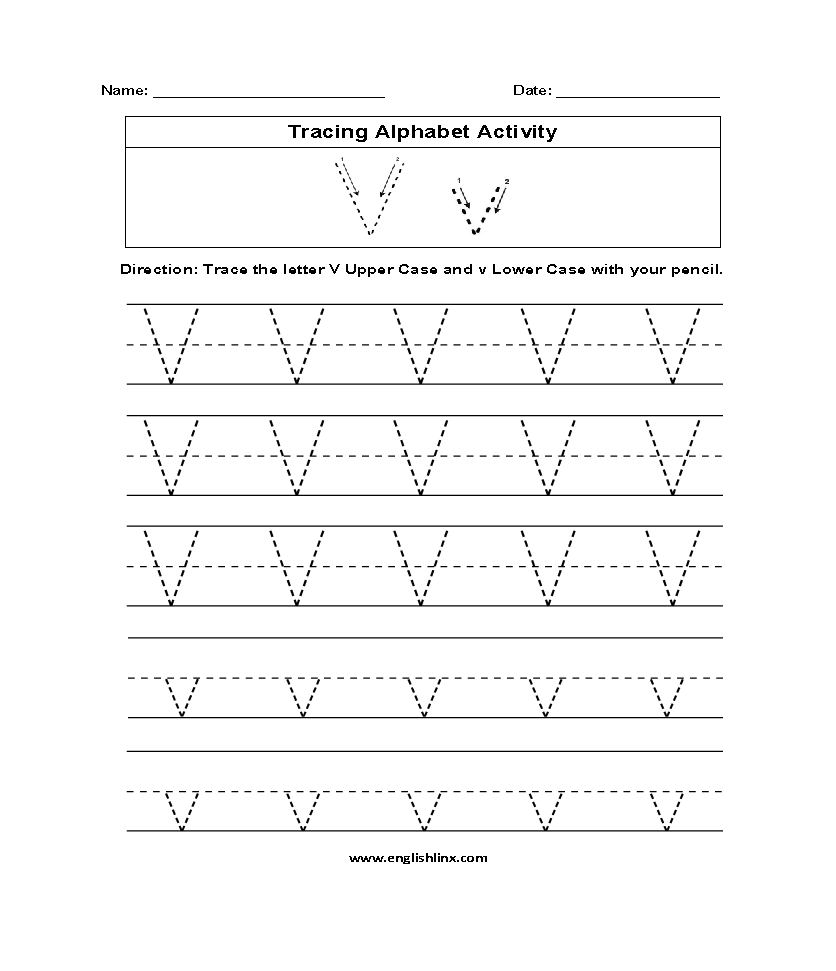 Alphabet Worksheets | Tracing Alphabet Worksheets regarding Letter V Tracing Pages