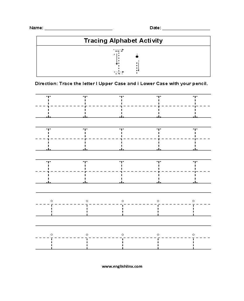Alphabet Worksheets | Tracing Alphabet Worksheets with Alphabet Tracing Letter I