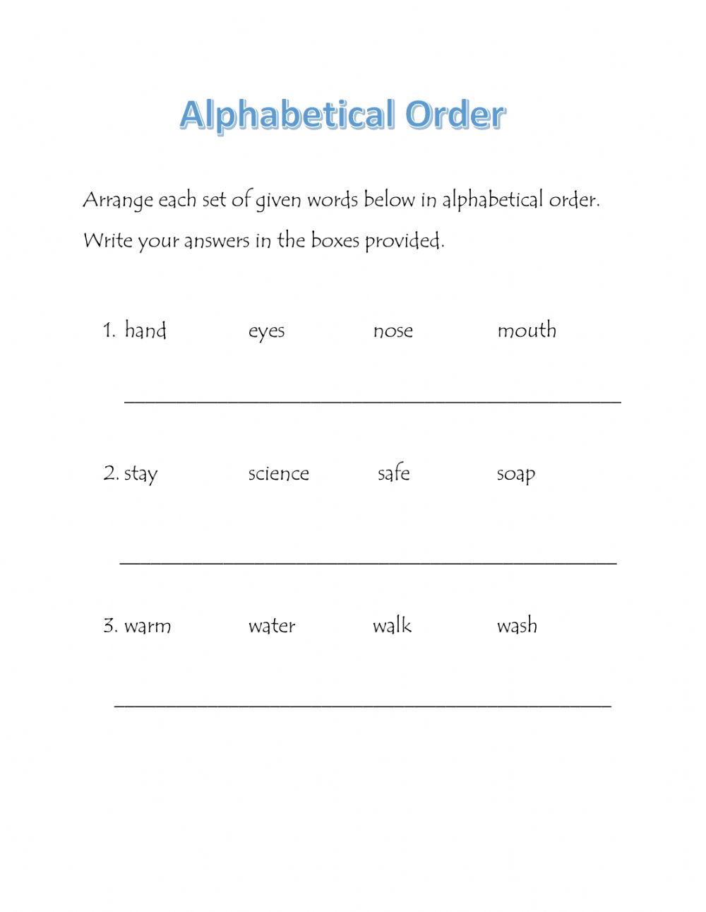 Alphabetical Order - Interactive Worksheet throughout Alphabet Order Worksheets Pdf