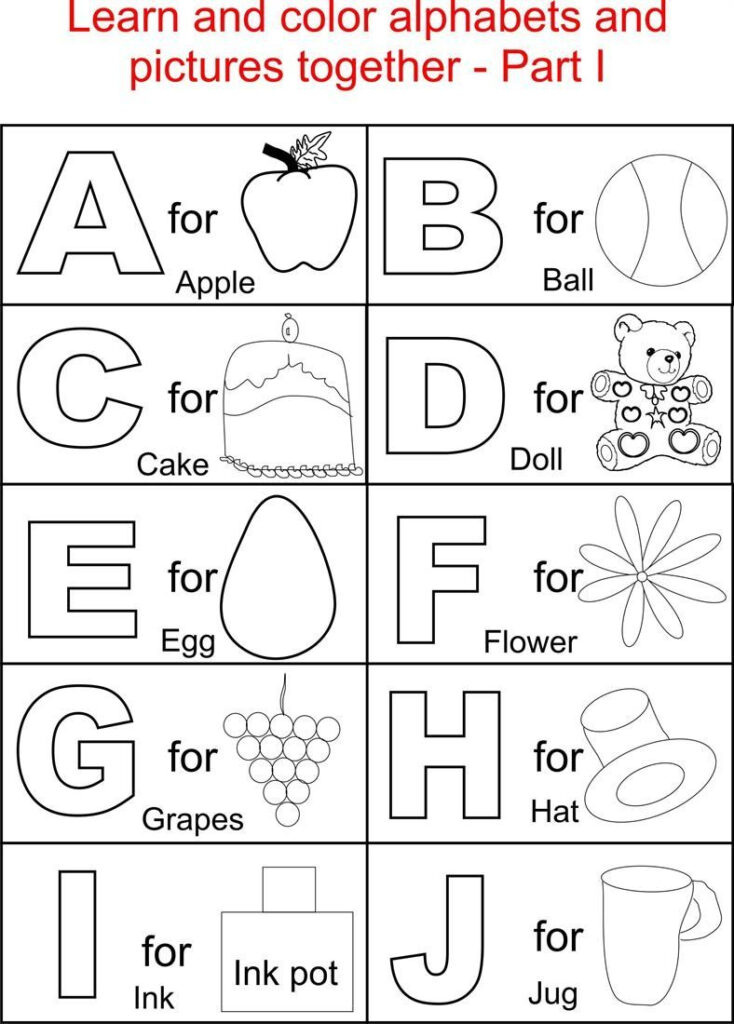 Alphabets And Related Pictures Colouring For Kids With Alphabet Coloring Worksheets For Toddlers