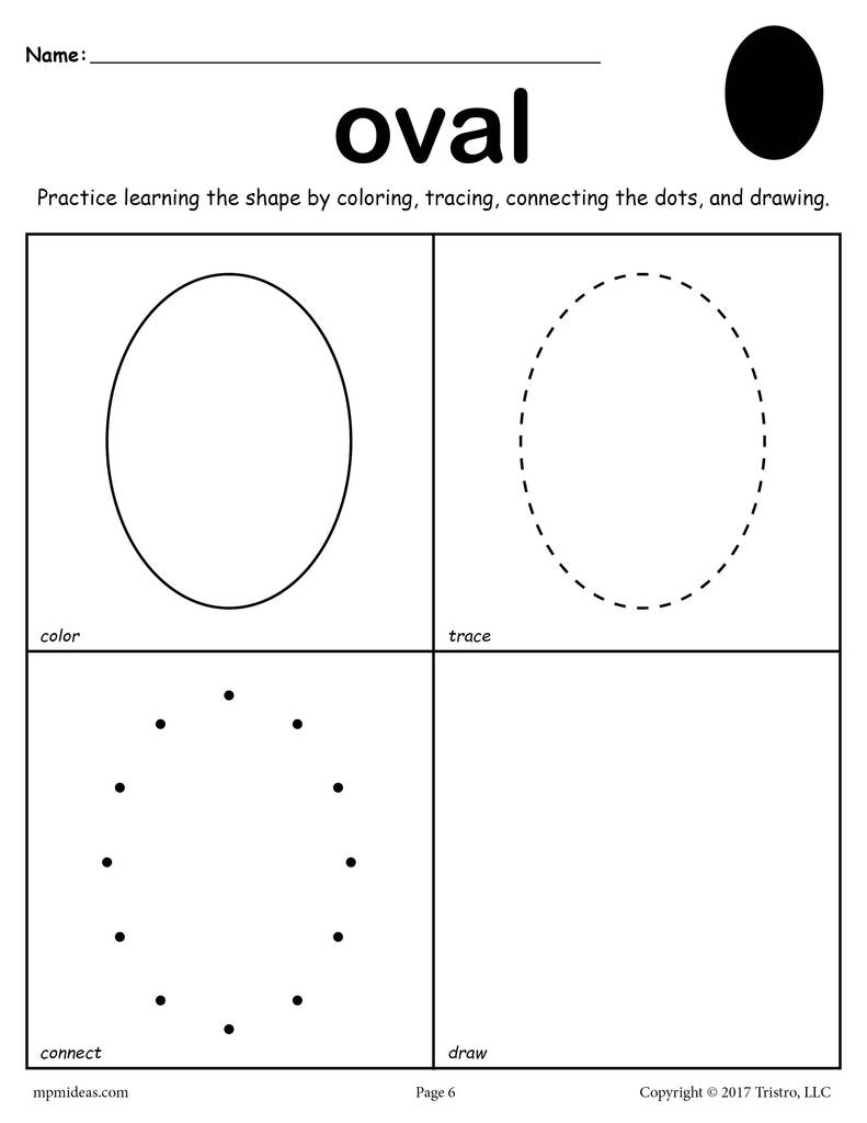 Art Gallery Oval Shape Worksheets For Preschool Staggering