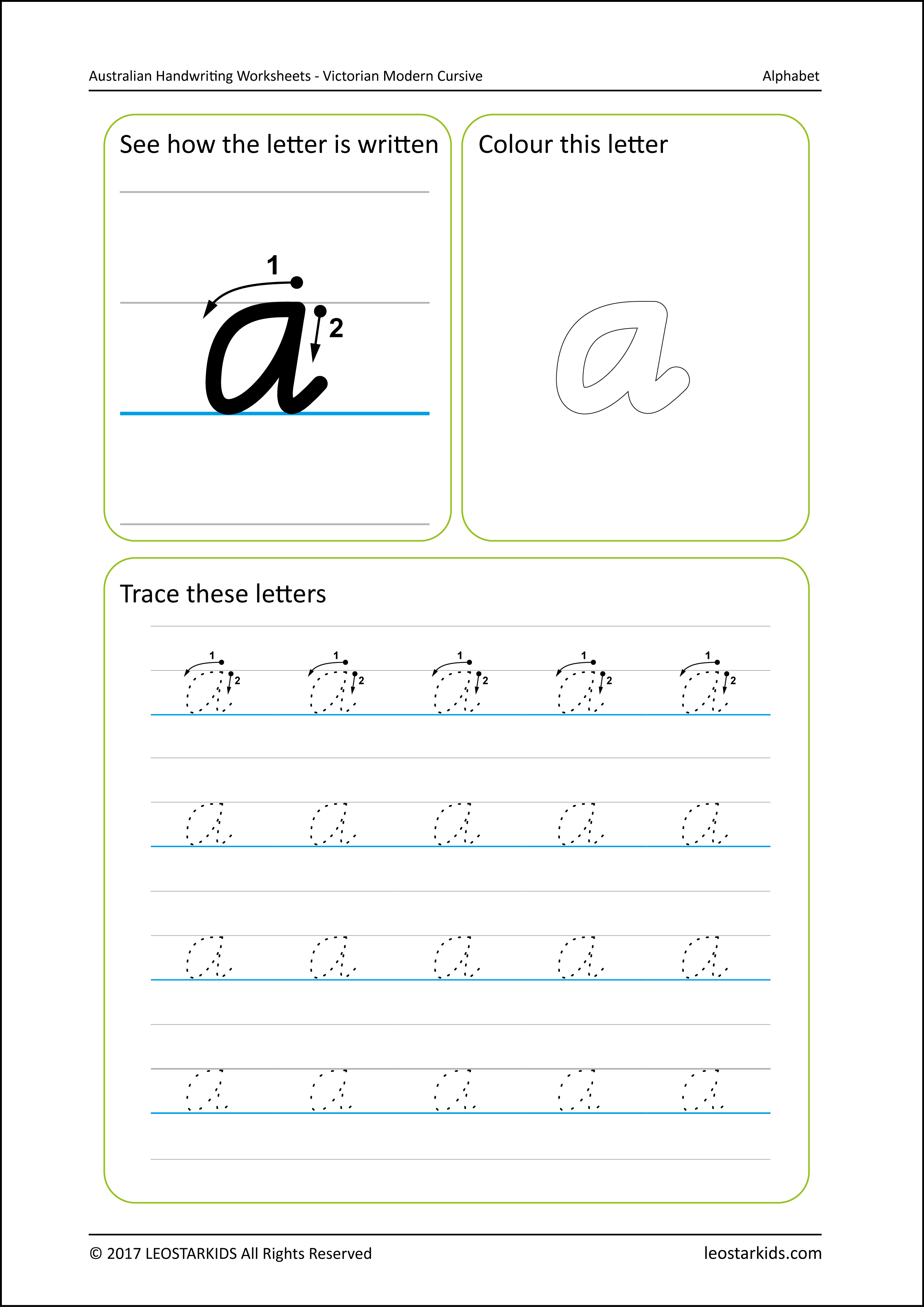 Australian Handwriting Worksheets - Victorian Modern Cursive in Name Tracing Victorian Cursive