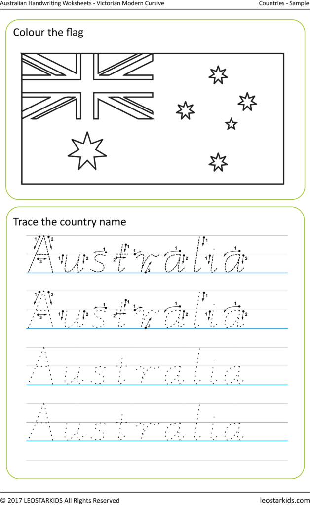 Australian Handwriting Worksheets – Victorian Modern Cursive Intended For Name Tracing Victorian Cursive
