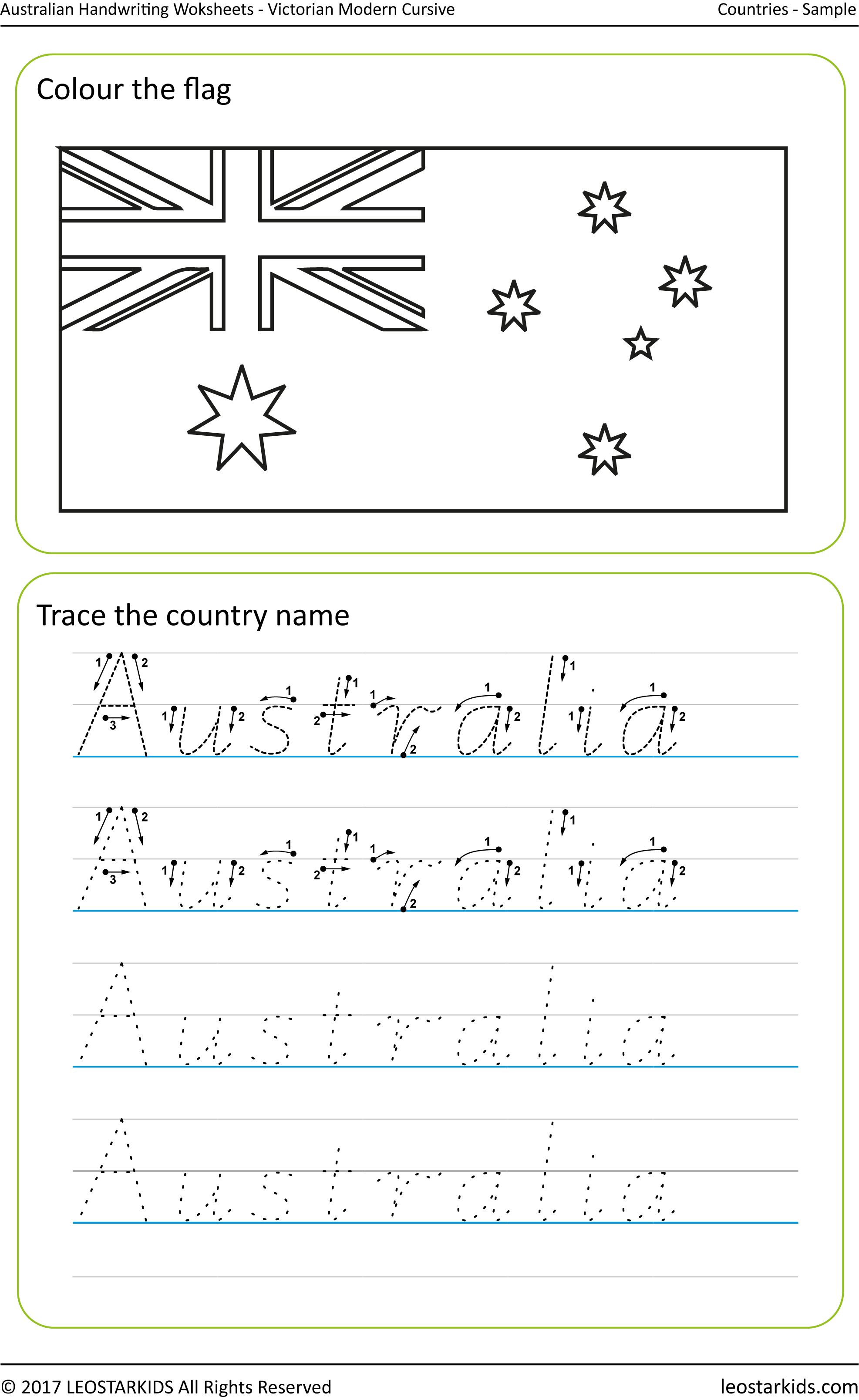 Australian Handwriting Worksheets – Victorian Modern Cursive pertaining to Name Tracing Victorian Modern Cursive