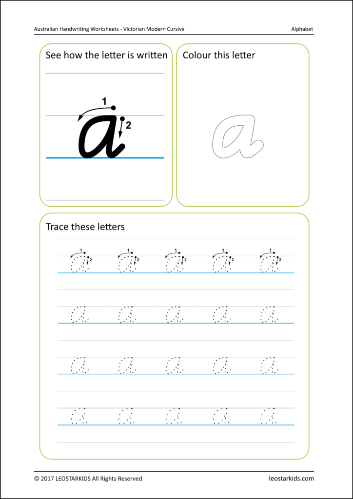 Australian Handwriting Worksheets   Victorian Modern Cursive With Name Tracing Template Nsw Font