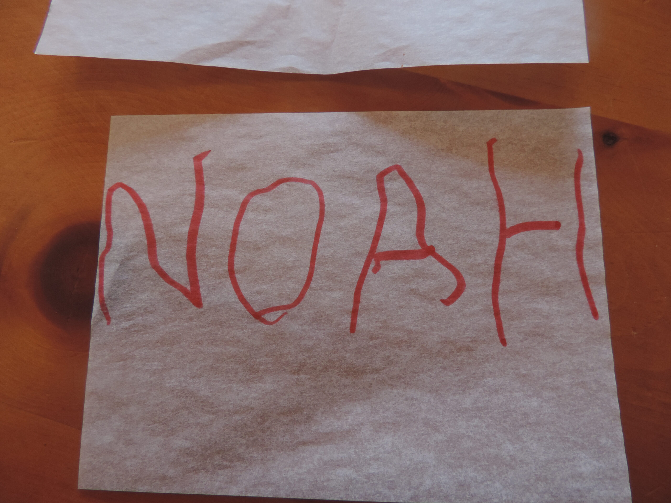 Baby Steps Toward Independent Writing – Tracing Names within Name Tracing Noah