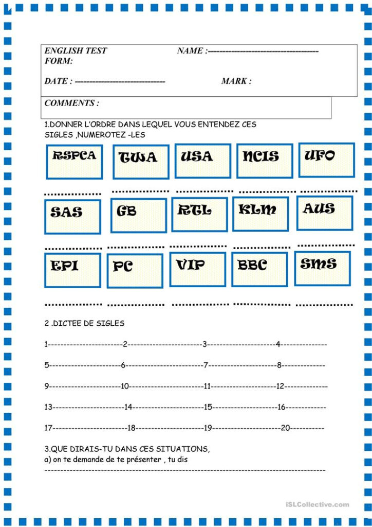 Basic Test With French Instructions , Greetings , Alphabet For Alphabet Worksheets In French