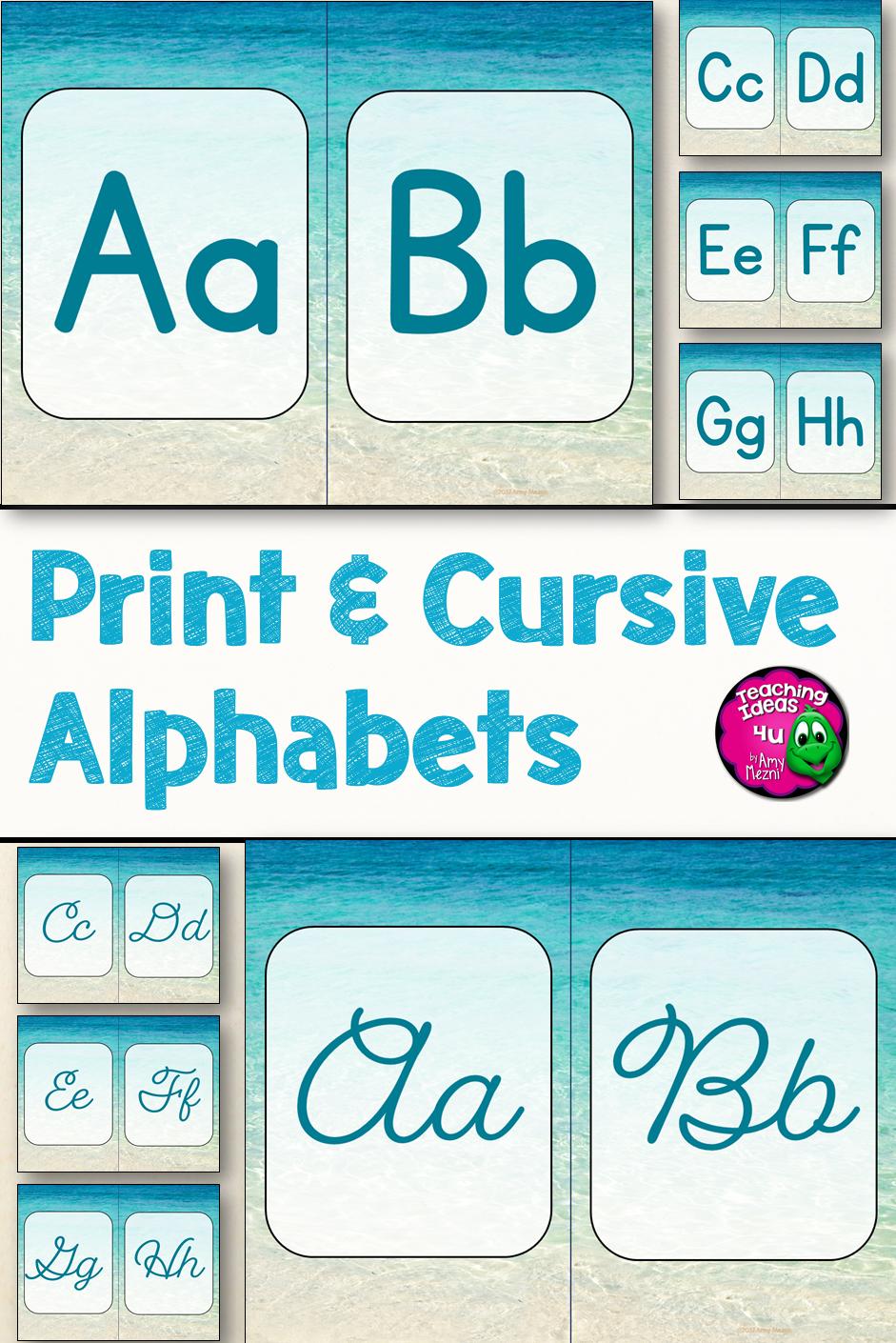 Beach & Ocean Print & Cursive Alphabets Classroom Decor Blue