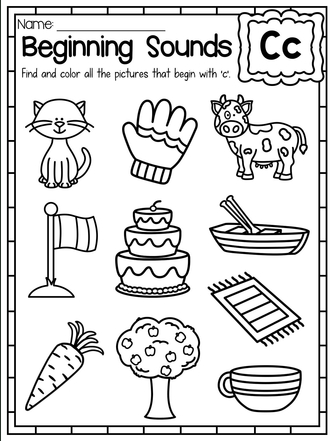 Beginning Sounds Worksheet. Letter C. These Beginning Sounds throughout Letter C Worksheets For 3 Year Olds