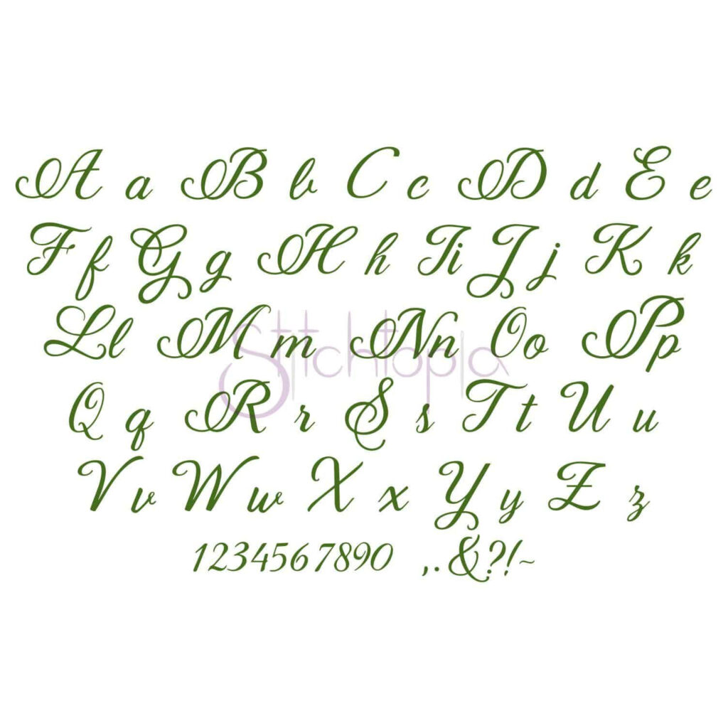 """Bethany Embroidery Font #1   1"""" 1.5"""" 2"""" 2.5"""" 3"""