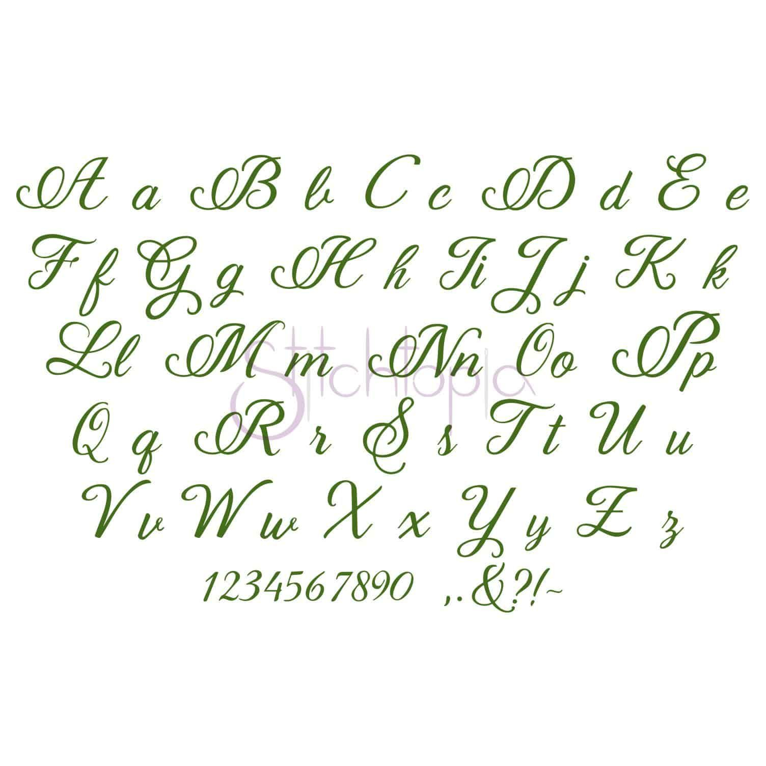 """Bethany Embroidery Font #1 - 1"""" 1.5"""" 2"""" 2.5"""" 3"""