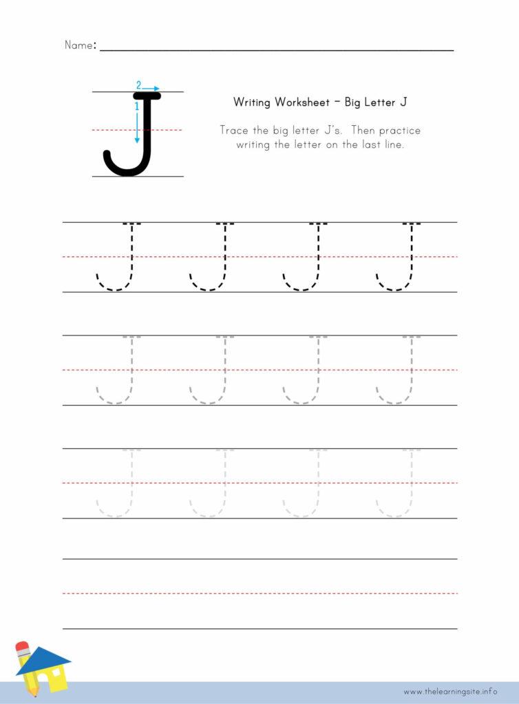 Big Letter J Writing Worksheet – The Learning Site Regarding Letter J Worksheets Pdf