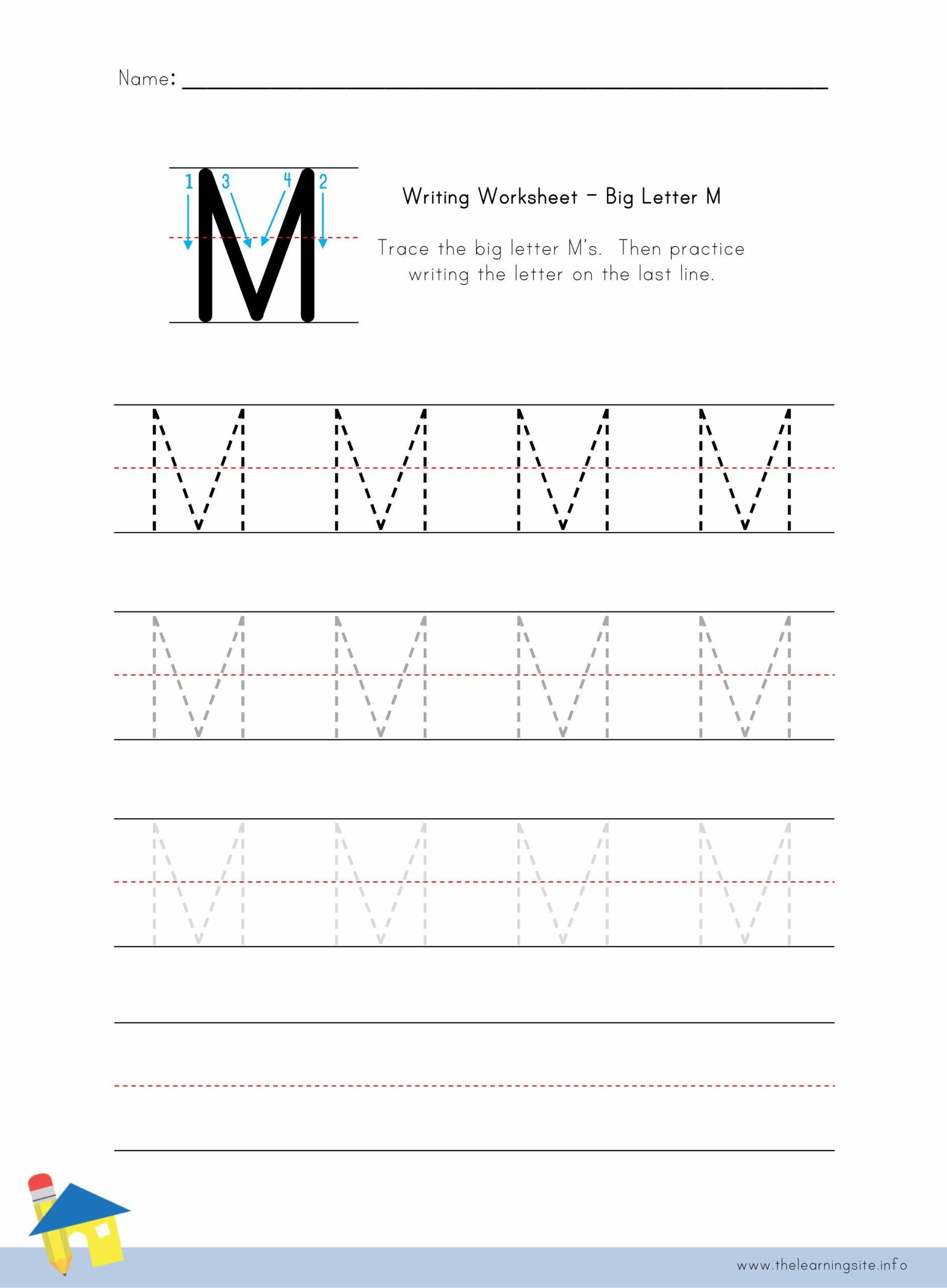 Big Letter M Writing Worksheet – The Learning Site inside Letter M Worksheets Pdf