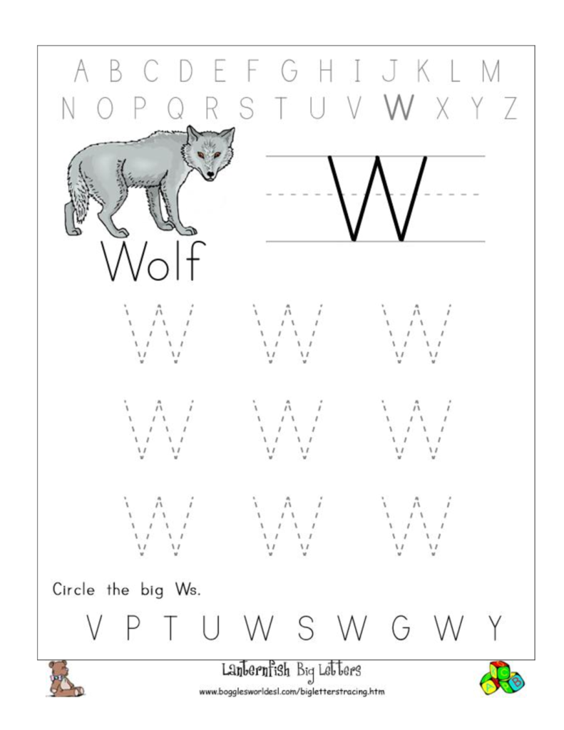 Big W Tracing Worksheet Doc .. | Letter Tracing Printables