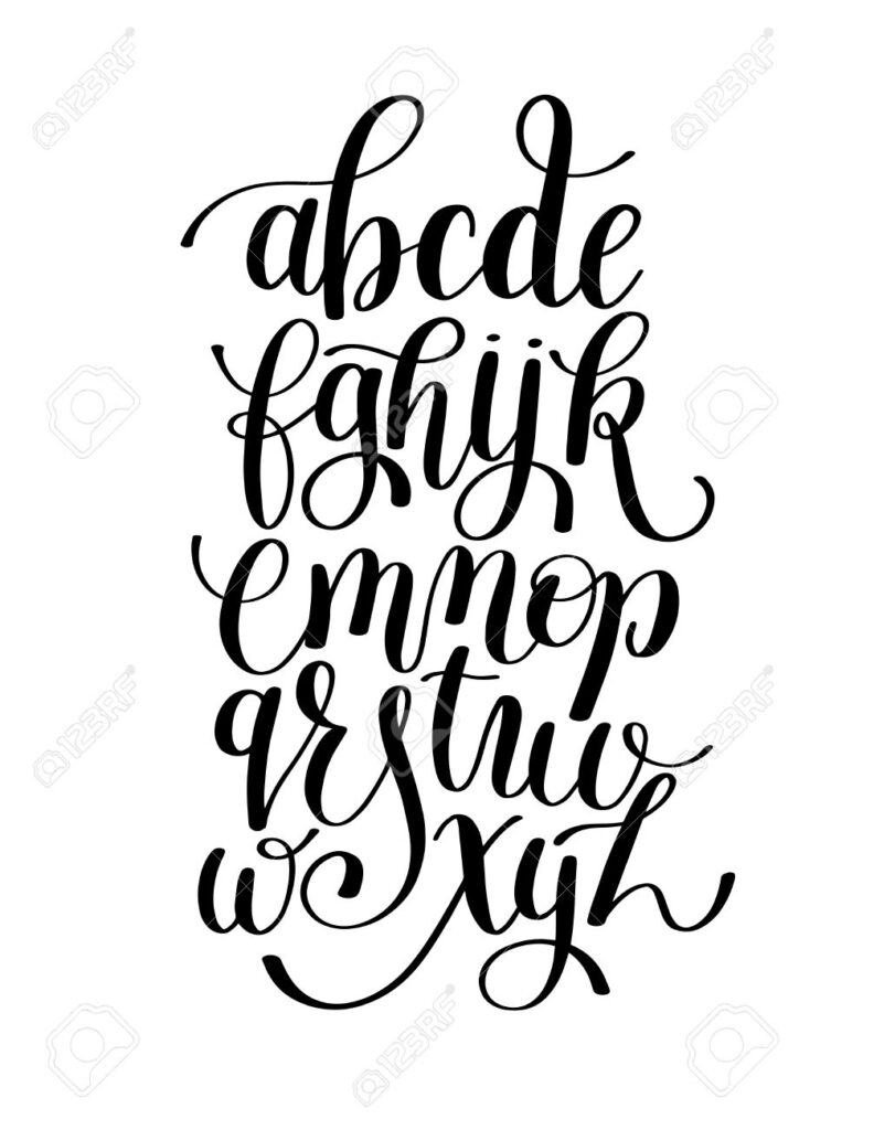 Black And White Hand Lettering Alphabet Design, Handwritten Brush..